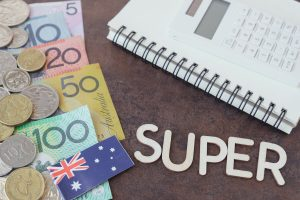 """Australian money and flag with calculator and word """"super"""""""
