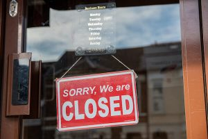 closed sign on shop door